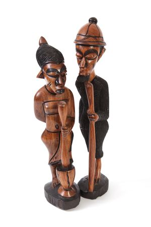 Statues made from wood by Gambian crafts men. Foto de archivo