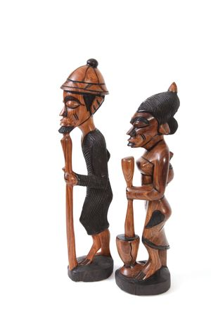 Statues made from wood by Gambian crafts men. Stock Photo