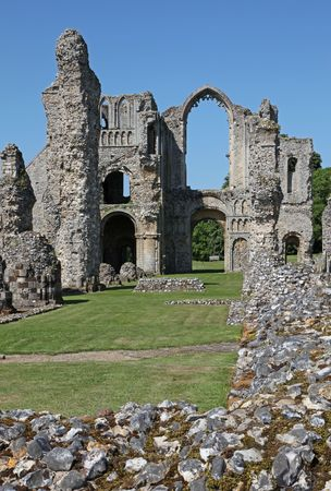 Castle Acre Priory in Castle Acre near  Kings Lynn, Norfolk, dates back to the 12th century; it was used by the monks  as a place of holy worship and meditation until 1537, when Henry V111 disbanded all monastic houses. Stock Photo