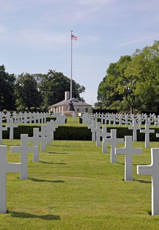 American war cemetery at Madingley in Cambridge, England.  Stock Photo