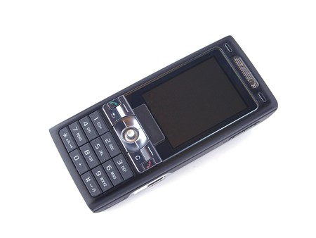 Black telephone on a white background.