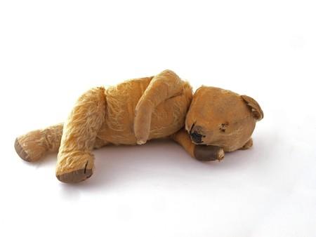 1950 teddy bear having a lay down. Stock Photo