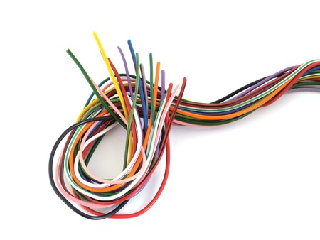 Close up of multicoloured six amp electrical wire Banco de Imagens - 7924384