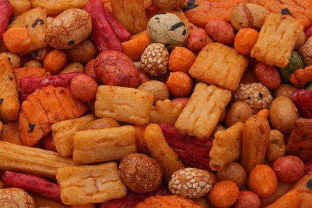 Rice Crackers or Cakes, the tast of Asia. Stock Photo