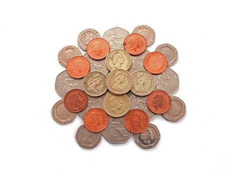 British, UK, coins  on a plain white background. Stock Photo