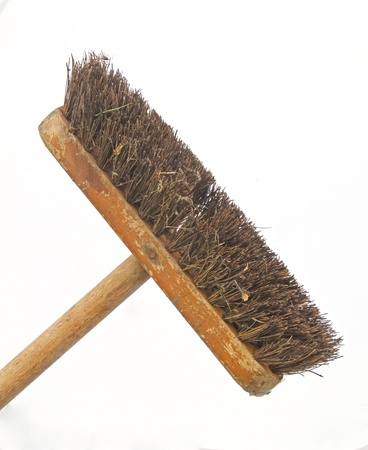 Sweeping brush on a white background. Stock Photo