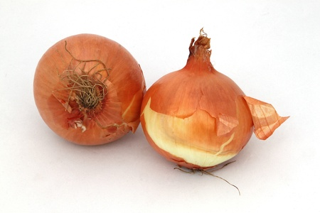 unpeeled: Two organic onions on a white background.