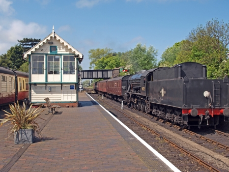 Steam engine No 90775, built by North British Locomotive Company, Glasgo.  Comming into Sheringham Station. Editorial