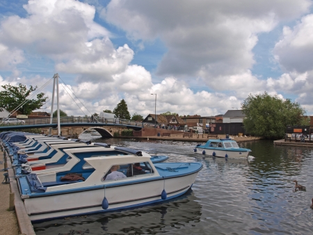 Day boats for hire at Wroxham  Wroxham is the centre of tourism for exploring the Norfolk Broads  Editorial