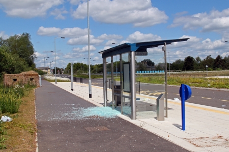 guided: Vandalised bus stop on the Cambridgeshire guided bus way, linking  St Ives with Cambridge is the world