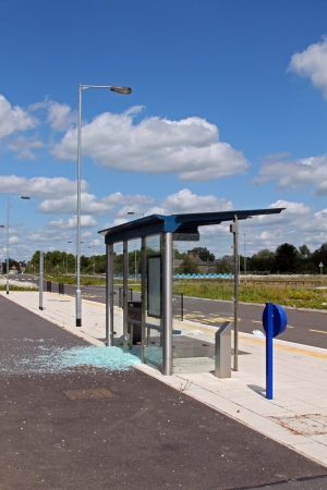 cambridgeshire: Vandalised bus stop on the Cambridgeshire guided bus way, linking  St Ives with Cambridge is the world