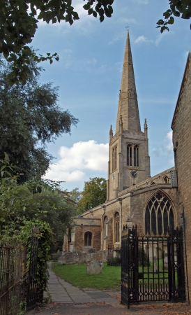 All Saints Parish Church in St Ives. Taken from the path leading to the Waits. Stock Photo