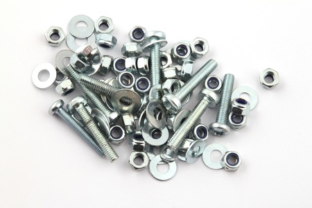 Nut and bolts on a white background. Stock Photo - 17745500