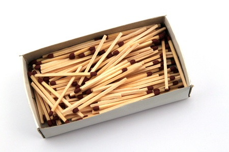 Safety matches in a box on a white background. Stock Photo - 18304921