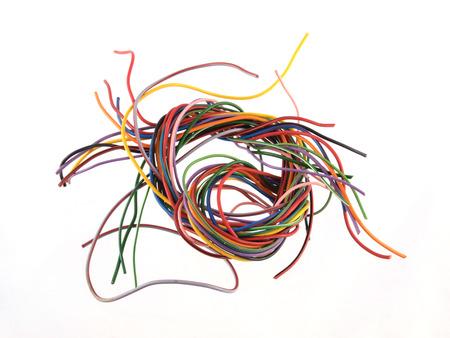 色とりどりの 6 アンプ電気ワイヤーのクローズ アップ 写真素材 - 30119709