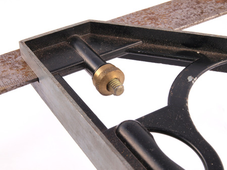 Close up of carpenters square Stock Photo