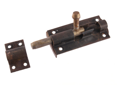 Close up of bolt as used to hold a door shut.