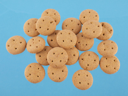 Close up of round dog biscuits on a blue background Stock Photo
