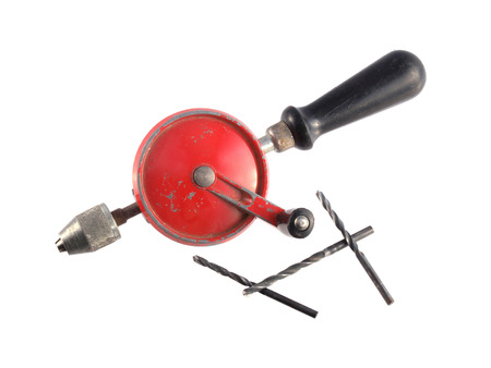 hand drill: Old hand drill on a white background.