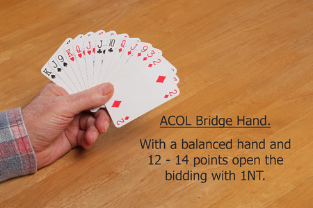 ACOL Contract Bridge Hand. With 12 to 14 points and a balanced hand open the bidding 1NT. Stock Photo