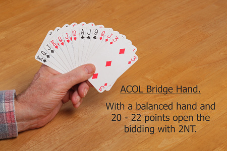 no pase: ACOL Contract Bridge Hand. With 20 - 22 points and a balanced hand open the bidding 2NT. Foto de archivo