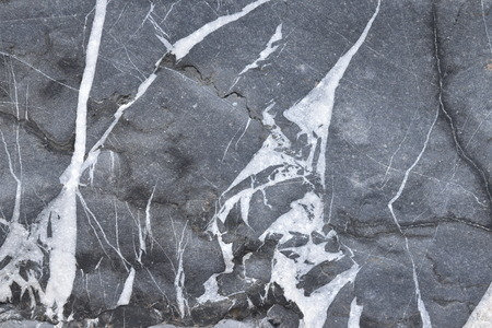 vesicles: Close up of quartz filled veins and vesicles in fractured basalt