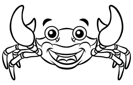 Cartoon Happy Crab Line Art Ilustracja