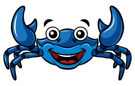 Cartoon Happy Blue Crab
