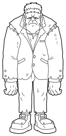 Cartoon Standing Zombie Line Art. Vector illustration.