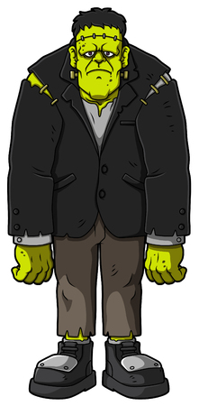 Cartoon Standing Zombie. Vector illustration.