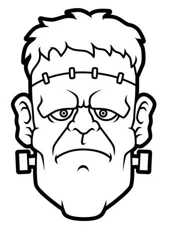 Cartoon Frankenstein Head Line Art