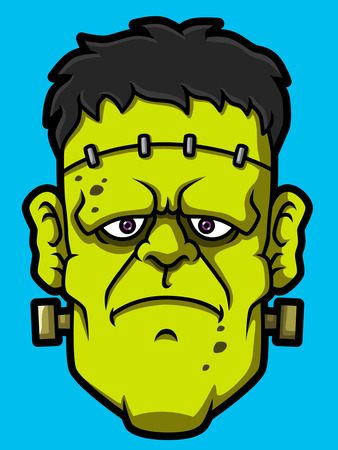 Cartoon Frankenstein Head Illustration
