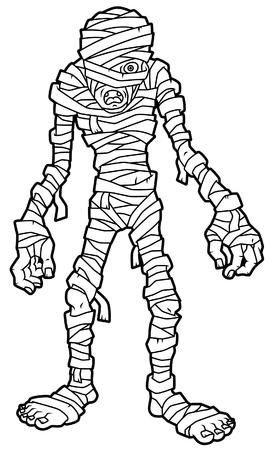 Cartoon Mummy Line Art Ilustracja