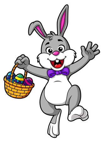 Vector Cartoon Hopping Easter Bunny With Basket