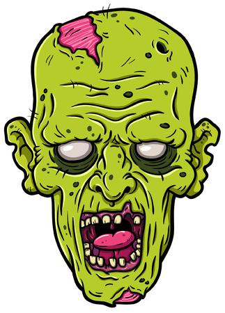 Vector Cartoon Rotting Zombie Head