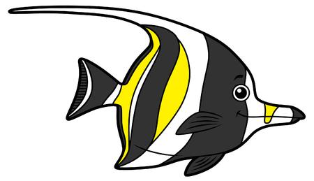 Vector de dibujos animados lindo pez ángel