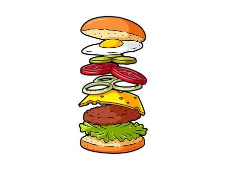 Vector Cartoon Cheeseburger Ingredients