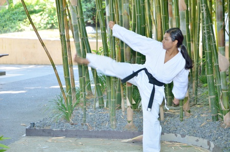 Side kick in karate photo