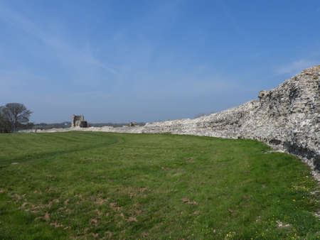 Roman curtain wall at Pevensey Castle