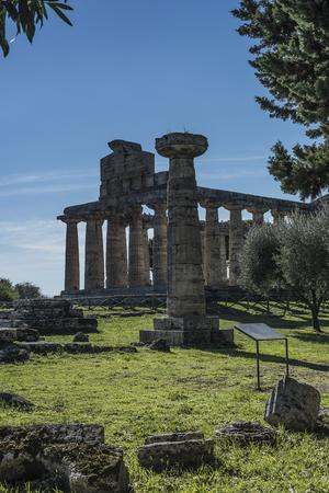 doric: View of greek temple di Cerere, Paestum Italy, foreground Doric column. Stock Photo