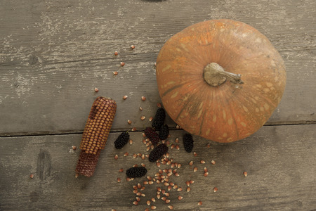 blacks: blacks mulberry and corn kernels to pop corn on the rough wooden table. Stock Photo