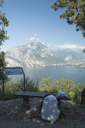 Torbole, Italy, Lake Garda, Adventure Park. View of the paths with ropes and wooden boards built in the trees.