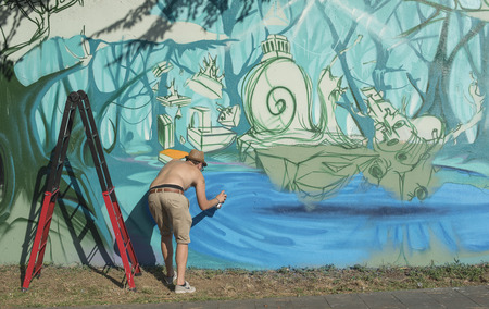 Street painters, graffiti artists, theis works begin to Baronissi. The theme of the iusse is: the forest. Editorial