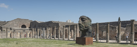 exhibiting: The Mitoraj sculptor exhibiting 30 of his works of Pompei, Huge audience and a lot of curiosity.