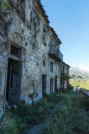 uninhabited: Tocco Caudio, Benevento, Italy, a small ghost country abandoned after the earthquake. View of collapsed, abandoned houses, deserted streets.