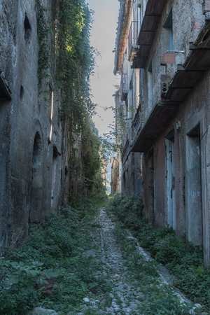Tocco Caudio, Benevento, Italy, a small ghost country abandoned after the earthquake. View of collapsed, abandoned houses, deserted streets.