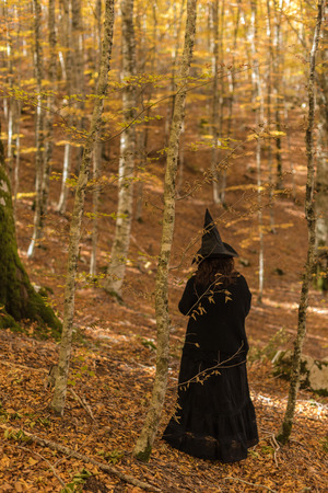 Witch dressed in black in an autumn forest. Red, yellow, earthy and musk. Hallowen celebrates with ancient and modern rites. Magie