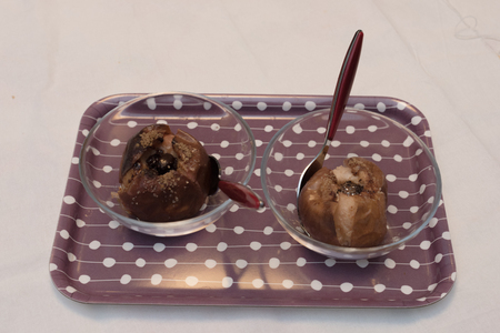 Four Italian Apples, Chocolates, Walnuts and Cinnamon. Recipe to prepare a sweet. Whole Preparation. Stock Photo