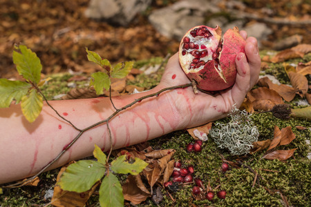 Closeup of Pomegranate in womans hand. Autumn, Mediterranean forest. Rite, lymph, nourishment, life. Beans and pomegranate juice, red fruits, antioxidants, protective, beauty, flavonoids.