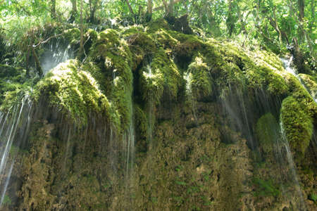 High-speed shots of the waterfall. Senerchia Oasis of the Hunt - WWFpark in Campania, Italy -